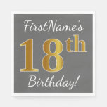 [ Thumbnail: Gray, Faux Gold 18th Birthday + Custom Name Paper Napkin ]