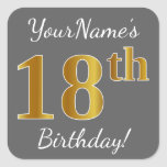 [ Thumbnail: Gray, Faux Gold 18th Birthday + Custom Name Sticker ]
