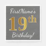 [ Thumbnail: Gray, Faux Gold 19th Birthday + Custom Name Paper Napkin ]