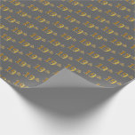 [ Thumbnail: Gray, Faux Gold 19th (Nineteenth) Event Wrapping Paper ]