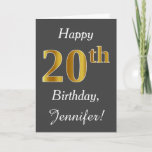 [ Thumbnail: Gray, Faux Gold 20th Birthday + Custom Name Card ]