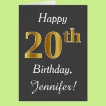 Gray, Faux Gold 20th Birthday   Custom Name Card