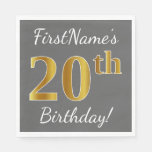 [ Thumbnail: Gray, Faux Gold 20th Birthday + Custom Name Paper Napkin ]