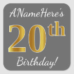 [ Thumbnail: Gray, Faux Gold 20th Birthday + Custom Name Sticker ]