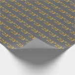 [ Thumbnail: Gray, Faux Gold 20th (Twentieth) Event Wrapping Paper ]