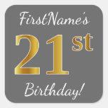 [ Thumbnail: Gray, Faux Gold 21st Birthday + Custom Name Sticker ]