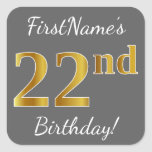 [ Thumbnail: Gray, Faux Gold 22nd Birthday + Custom Name Sticker ]