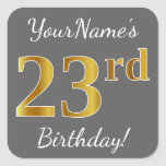 [ Thumbnail: Gray, Faux Gold 23rd Birthday + Custom Name Sticker ]