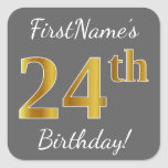 [ Thumbnail: Gray, Faux Gold 24th Birthday + Custom Name Sticker ]