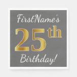 [ Thumbnail: Gray, Faux Gold 25th Birthday + Custom Name Napkin ]
