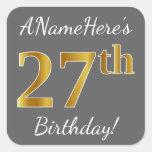 [ Thumbnail: Gray, Faux Gold 27th Birthday + Custom Name Sticker ]