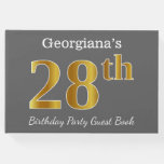 [ Thumbnail: Gray, Faux Gold 28th Birthday Party + Custom Name Guest Book ]