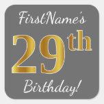 [ Thumbnail: Gray, Faux Gold 29th Birthday + Custom Name Sticker ]