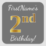 [ Thumbnail: Gray, Faux Gold 2nd Birthday + Custom Name Sticker ]
