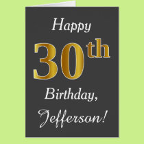 Gray, Faux Gold 30th Birthday   Custom Name Card