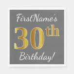 [ Thumbnail: Gray, Faux Gold 30th Birthday + Custom Name Paper Napkin ]