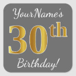 [ Thumbnail: Gray, Faux Gold 30th Birthday + Custom Name Sticker ]