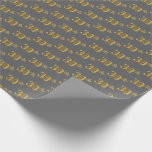 [ Thumbnail: Gray, Faux Gold 30th (Thirtieth) Event Wrapping Paper ]