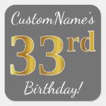 [ Thumbnail: Gray, Faux Gold 33rd Birthday + Custom Name Sticker ]