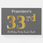 [ Thumbnail: Gray, Faux Gold 33rd Birthday Party + Custom Name Guest Book ]