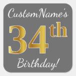 [ Thumbnail: Gray, Faux Gold 34th Birthday + Custom Name Sticker ]