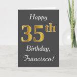 [ Thumbnail: Gray, Faux Gold 35th Birthday + Custom Name Card ]