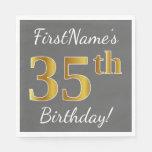 [ Thumbnail: Gray, Faux Gold 35th Birthday + Custom Name Paper Napkin ]