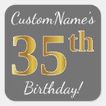 [ Thumbnail: Gray, Faux Gold 35th Birthday + Custom Name Sticker ]