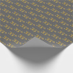 [ Thumbnail: Gray, Faux Gold 35th (Thirty-Fifth) Event Wrapping Paper ]