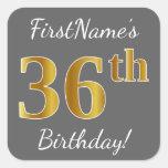 [ Thumbnail: Gray, Faux Gold 36th Birthday + Custom Name Sticker ]