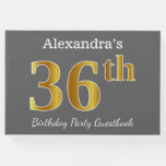 [ Thumbnail: Gray, Faux Gold 36th Birthday Party + Custom Name Guest Book ]