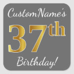 [ Thumbnail: Gray, Faux Gold 37th Birthday + Custom Name Sticker ]