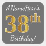[ Thumbnail: Gray, Faux Gold 38th Birthday + Custom Name Sticker ]