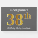 [ Thumbnail: Gray, Faux Gold 38th Birthday Party + Custom Name Guest Book ]
