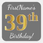 [ Thumbnail: Gray, Faux Gold 39th Birthday + Custom Name Sticker ]