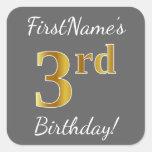 [ Thumbnail: Gray, Faux Gold 3rd Birthday + Custom Name Sticker ]