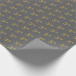 [ Thumbnail: Gray, Faux Gold 3rd (Third) Event Wrapping Paper ]