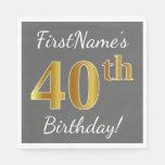 [ Thumbnail: Gray, Faux Gold 40th Birthday + Custom Name Paper Napkin ]