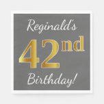 [ Thumbnail: Gray, Faux Gold 42nd Birthday + Custom Name Napkin ]