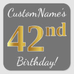 [ Thumbnail: Gray, Faux Gold 42nd Birthday + Custom Name Sticker ]