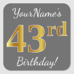 [ Thumbnail: Gray, Faux Gold 43rd Birthday + Custom Name Sticker ]