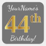 [ Thumbnail: Gray, Faux Gold 44th Birthday + Custom Name Sticker ]