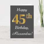 [ Thumbnail: Gray, Faux Gold 45th Birthday + Custom Name Card ]
