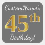 [ Thumbnail: Gray, Faux Gold 45th Birthday + Custom Name Sticker ]