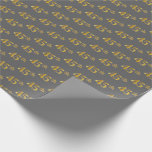 [ Thumbnail: Gray, Faux Gold 45th (Forty-Fifth) Event Wrapping Paper ]