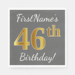[ Thumbnail: Gray, Faux Gold 46th Birthday + Custom Name Napkin ]