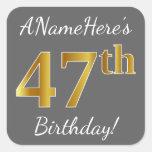 [ Thumbnail: Gray, Faux Gold 47th Birthday + Custom Name Sticker ]