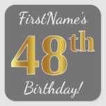 [ Thumbnail: Gray, Faux Gold 48th Birthday + Custom Name Sticker ]