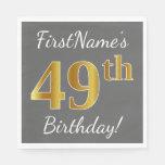 [ Thumbnail: Gray, Faux Gold 49th Birthday + Custom Name Napkin ]