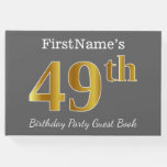 [ Thumbnail: Gray, Faux Gold 49th Birthday Party + Custom Name Guest Book ]